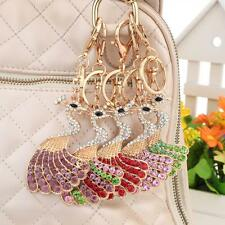 Bling Peacock Peafowl Pendent Charm Chain Crystal Purse Bag Key Ring Keyring