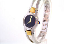 Ladies Movado 0604760 AMOROSA Two-tone Stainless Steel Black Dial Bangle Watch