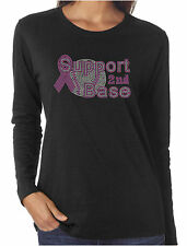 Support 2nd Base Rhinestone Long Sleeve T-Shirts Breast Cancer Awareness
