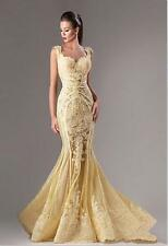 2016 Formal Evening Dress Scoop Neck Mermaid Tulle Lace Applique Prom Party Gown