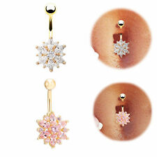 Rhinestone Daisy Flower Belly Button Rings Navel Bar Body Piercing Women Jewelry