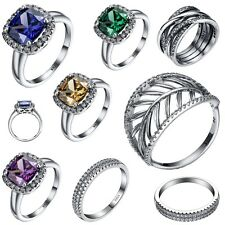 Luxury Sapphire Jewelry New 925 Sterling Silver Wedding Engagement Ring Size 6-9