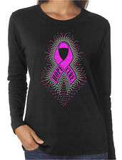 Hope Cure Ribbon Glitter and Rhinestone LS T-Shirts Breast Cancer Awareness