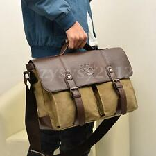 Men Canvas Leather Travel Shoulder Business Messenger Bag Satchel School Laptop