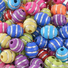 Wholesale DIY Jewelry Spacer Beads Acrylic Stripe Pattern Oval Mixed 12mmx10mm