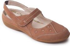 Padders DONNA Ladies Womens Leather EE Wide Velcro Summer Slingback Shoes Beige