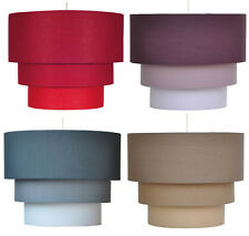 """12"""" 30cm 3 Tier Cotton Fabric Ceiling Lampshade Pendant Light Shade 4 Colours"""