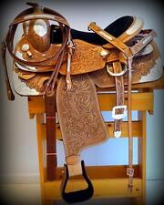 """16"""" 17"""" Adult Saddle ShOw Lite Oil FULL SILVER Fully TOOLED Western FQHB HsBp"""