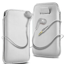 White PU Leather Pull Tab Flip Case Cover & Earbud Earphone for Mobile Phones