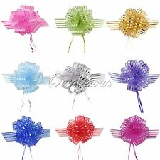 10Pcs Organza 50mm Pull Bow Striped Ribbons Wedding Party Florist Pew Puff Gifts