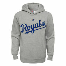 Kansas City Royals Majestic Youth Wordmark Pullover Hoodie - Heathered Gray
