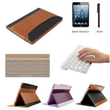 Genuine Leather Case Smart Cover+Bluetooth Keyboard for Apple iPad Air 2/iPad 6