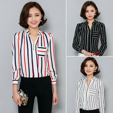 Korean Womens Chiffon V Neck Long Sleeve Shirt Striped Blouse Career Tops S-2XL
