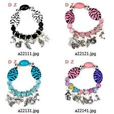 a221m41 Zebra-stripe multi-color Crystal elastic stretch Dangle Bangle Bracelet