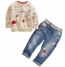 2pcs Toddler Infant Kids Baby Girls Toddler tops + Denim pants Clothes Outfits