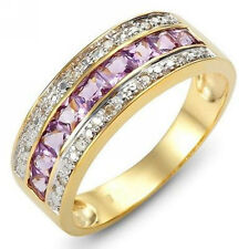 Size 6,7,8,9,10 Jewelry 18K Purple Amethyst Gold Filled Ring Stamp 10KT Gift