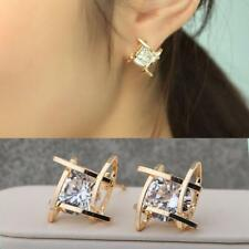 Fashion Women Lovely Elegant Crystal Rhinestone Square Ear Stud Earrings Hot