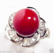 Fashion Natural 10mm Red South Sea Shell Pearl Flower Silver Ring Size 7/8/9