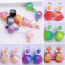 Korean Fashion Jewelry Gradient Candy Color Double Sides Bead Ear Stud Earrings