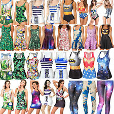Womens Digital Print Monokini Skater Dress Tank Top Leggings Vest Mini Skirts