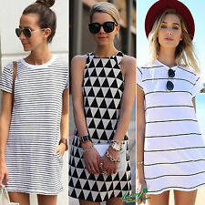 Womens Casual Short Sleeve Scoop Neck Striped Mini Dress Loose T-shirt Long Tops