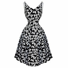 Hearts and Roses London Kitsch White Bow 50s Vintage Tea Party Dress UK
