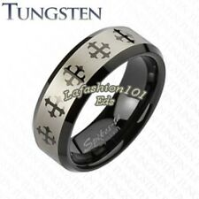 Tungsten Carbide Black IP Laser Etched Multi Cross Mens Wedding Ring SZ 9,11,13