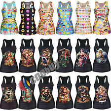 Womens Casual Gothic Vest Tank Top T-Shirt Shirts Cami Tee Punk Singlet Club New