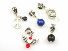 5 Stone / Crystal Mix Dangle Large Hole Charm Beads Fits European Bracelet