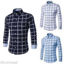 Fashion Mens Luxury Long Sleeve Plaids Casual Slim Fit Stylish Dress Shirts Tops