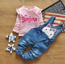 2pcs cotton kids baby Girls tops+ Denim pants rompers Outfits clothing sets