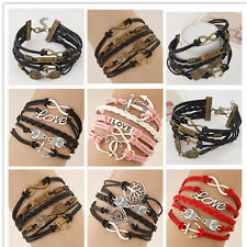 NEW Infinity Owl Love anchor Friendship Leather Charm Bracelet Silver Cute uf