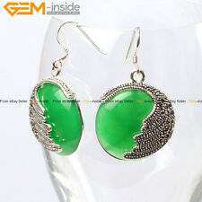 Gem-inside Fashion Pretty 25mm Coin Beads Tibetan Silver Dangle Earrings 1 Pair