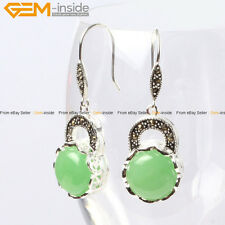Gem-inside Fashion Pretty 16mm Coin Beads Tibetan Silver Dangle Earrings 1 Pair