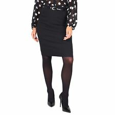 Womens Formal Stretch Smart Bodycon Pencil Skirt Belted Office Work Size AU 8-18