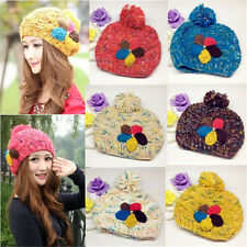 Fashion Winter Warm Women Crochet Knitting Wool Hats Beret Ski Beanie Ball Caps