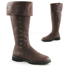 Brown Pirate Renaissance Faire Period Mens Halloween Costume Tall Boots 11 12 13