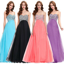 Strapless Beaded Prom Gown Cocktail Evening Wedding Long Dress Formal Bridesmaid