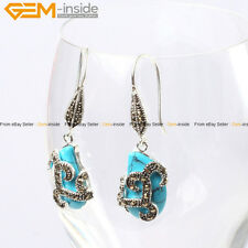 GEM-inside Fashion 12x18mm Beads Carved Tibetan Silver Dangle Earrings 1 Pair