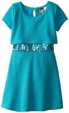 Pogo Club Girls Teal Jessica Dress W/Faux Fur Size 4 5/6 6X $40