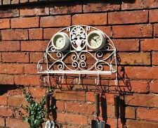 Wall Coat and Hat Rack With clock Shelf Vintage Style Shabby Chic Whitewash new