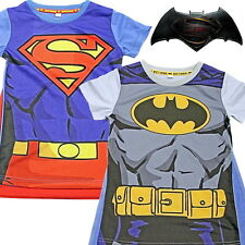 Boys Official Licensed Batman/Superman T Shirt with Cape Ages 2-7 Years