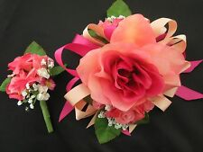 Wedding Prom Fuchsia Salmon Rose Flower Wrist Corsage or 2pc with Boutoniere
