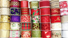 LARGE SELECTION GISELA GRAHAM WIDE WIRED EDGE CHRISTMAS RIBBON - 1 0R 3 METRES