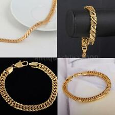 Women Men Chain Bracelet 18K Real Gold Plated Bangle Fashion Jewelry Gift