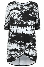 Yoursclothing Plus Size Womens Tie Dye Wrap Top With Dip Back Hem