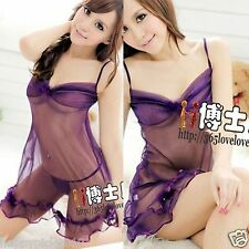 Spaghetti Strap Backless Feather Womens Mini Dress Lingerie Intimates Sleepwear