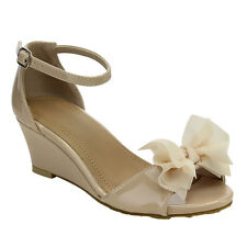Lucky Top CE28 Children Girl's Sweet Peep Toe Bow Tie Ankle Strap Wedge Sandals