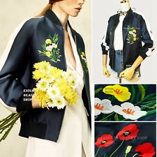 Embroidery Floral Jacket Women Embroidered Satin Bomber Coat Baseball Pilots SML