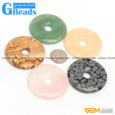 Natural Assorted Stones 40mm Round Donut Beads For Pendant 1Pcs Free Shipping